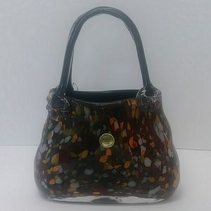 Mouth blown Block Crystal multi colored purse vase